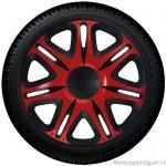 Wieldoppen set NASCAR FIRE in rood-zwart 13 inch t/m 16 inch