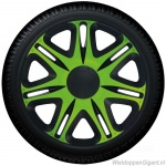Wieldoppen set NASCAR MONSTER in groen-zwart in 13 en 14 inch