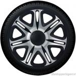 Wieldoppen set NASCAR BS in zwart-zilver van 13 inch t/m 16 inch