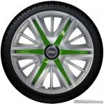 Wieldoppen set MAXIM SGS in zilver met groene spaken van 13 inch t/m 16 inch