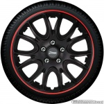 Wieldoppen set HERO GTR in satijn zwart-rood met chroom wielmoerkapjes van 13 inch t/m 16 inch