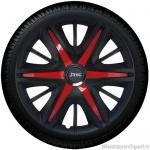 Wieldoppen set MAXIM BRS in satijn zwart en rode spaken van 13 inch t/m 16 inch