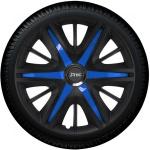 Wieldoppen set MAXIM BAS in satijn zwart en azuur blauwe spaken van 13 inch t/m 16 inch