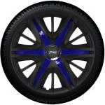Wieldoppen set MAXIM BBS in satijn zwart en blauwe spaken van 13 inch t/m 16 inch