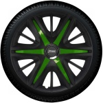 Wieldoppen set MAXIM BGS in satijn zwart en groene spaken van 13 inch t/m 16 inch