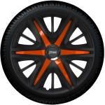 Wieldoppen set MAXIM BOS in satijn zwart en oranje spaken van 13 inch t/m 16 inch