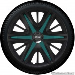 Wieldoppen set MAXIM BTS in satijn zwart en turquoise spaken van 13 inch t/m 16 inch