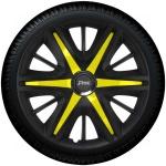 Wieldoppen set MAXIM BYS in satijn zwart en gele spaken van 13 inch t/m 16 inch