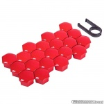 Kunststof wielmoerkapjes glanzend rood 17 mm set a 20 stuks met clip