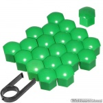 Kunststof wielmoerkapjes groen 17 mm set a 20 stuks met clip
