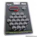 Wielmoerkapjes HQ zwart verchroomd 17 mm 20 stuks met clips