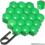 Kunststof wielmoerkapjes groen 19 mm set a 20 stuks met clip