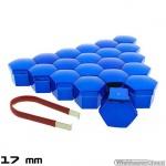 Wielmoerkapjes blauw verchroomd 17 mm set a 20 stuks met clip