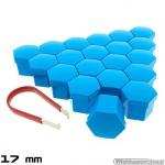 Wielmoerkapjes blauw gelakt 17 mm set a 20 stuks met clip