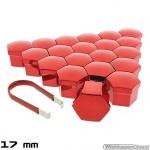Wielmoerkapjes rood verchroomd 17 mm set a 20 stuks met clip