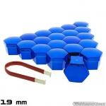 Wielmoerkapjes blauw verchroomd 19 mm set a 20 stuks met clip