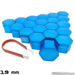 Wielmoerkapjes blauw gelakt 19 mm set a 20 stuks met clip