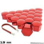 Wielmoerkapjes rood verchroomd 19 mm set a 20 stuks met clip