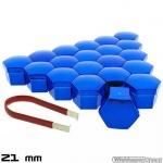 Wielmoerkapjes blauw verchroomd 21 mm set a 20 stuks met clip