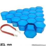 Wielmoerkapjes blauw gelakt 21 mm set a 20 stuks met clip