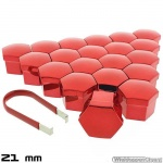 Wielmoerkapjes rood verchroomd 21 mm set a 20 stuks met clip