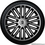 Wieldoppen set SPARCO BERGAMO ARGENTO-NERO in zilver-zwart 14 inch t/m 16 inch