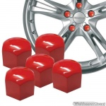 Kunststof wielmoerkapjes rood 17 mm set a 20 stuks met clip
