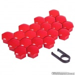 Kunststof wielmoerkapjes rood 19 mm set a 20 stuks met clip