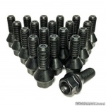 Wielbouten set zwart M12x1.5 lengte 26 mm kop 17 mm. 20 stuks