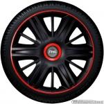 Wieldoppen set MAXIM BRR in satijn zwart met rode rand en ring van 13 inch t/m 16 inch