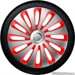 Wieldoppen set SEPANG CSR in zilver carbon look-rood van 13 inch t/m 17 inch