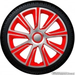 Wieldoppen set VERONIQUE CSR in zilver carbon look-rood van 13 inch t/m 16 inch