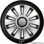 Wieldoppen set SILVERSTONE in zilver-zwart met chroom ring van 13 inch t/m 16 inch
