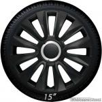 Wieldoppen set AVALONE in zwart met chroom ring van 13 inch t/m 16 inch