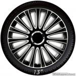 Wieldoppen set LE MANS in zwart-zilver met chroom ring van 13 inch t/m 17 inch