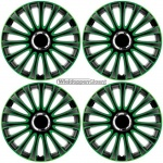 Wieldoppen set LE MANS in zwart-groen met chroom ring van 13 inch t/m 17 inch