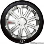 Wieldoppen set EVO RACE in zilver met chroom ring en EVO logo van 13 inch t/m 16 inch