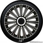 Wieldoppen set LE MANS in zwart-wit met chroom ring van 13 inch t/m 17 inch