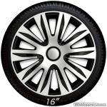 Wieldoppen set NARDO in zwart-zilver met chroom ring van 13 inch tm 16 inch