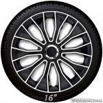 Wieldoppen set VOLTEC in zwart-wit met chroom ring van 13 inch tm 16 inch