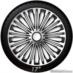 Wieldoppen set VOLANTE in zilver-zwart met chroom ring van 13 inch t/m 17 inch