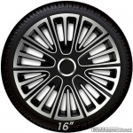 Wieldoppen set MOTION SB in zilver met satijn zwarte accenten van 13 inch t/m 16 inch