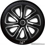 Wieldoppen set LIVORNO BS in zwart carbon look-zilver van 13 inch t/m 16 inch