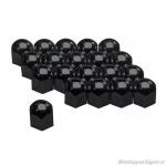 Wielmoerkapjes zwart 17 mm. Set a 20 stuks
