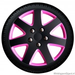 Wieldoppen set MICHIGAN in satijn zwart-pink van 13 inch tm 15 inch