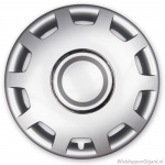 Losse wieldop ALABASTER-S hoogglans zilver met chroom ring van 13 inch t/m 16 inch