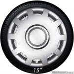 Wieldoppen set ALABASTER-S hoogglans zilver met chroom ring van 13 inch t/m 16 inch