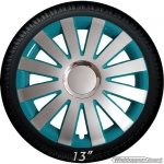 Wieldoppen set ONYX-ST hoogglans zilver-turquoise met chroom ring van 13 inch t/m 15 inch