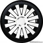 Wieldoppen set ONYX-WB hoogglans wit-zwart met chroom ring van 13 inch t/m 16 inch