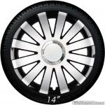 Wieldoppen set ONYX-SB hoogglans zilver-zwart met chroom ring van 13 inch t/m 16 inch